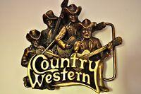 Vintage bergamot Brass Works Country Western Band 3d Belt Buckle 1981