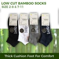 Bamboo Socks Ankle Low Cut Soft Cushion Work Sport Women s2-11 Black Navy White