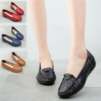Womens Loafers Mocassin Leather Flats Pumps Ladies Comfy Silp On Boat Shoes Size
