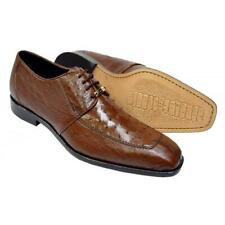 Belvedere Ostrich Quill Skin Brown Bumps Moc Split Toe Handmade Derby Shoes
