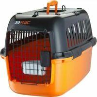 Pet Plastic Dog/Cat Portable Transport Travel Carrier Large Orange & Black