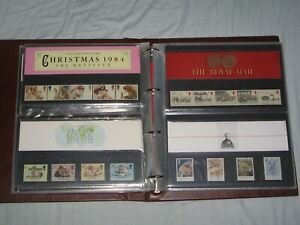 LARGE COLLECTION OF 21 RARE BRITISH PRESENTATION PACKS 1980s ( 90 Mint Stamps )