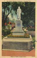 Linen Postcard CA Da018 1955 San Gabriel Mission Statue of Father Junipero Serra