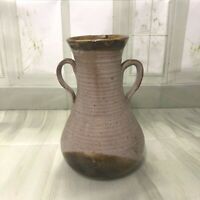 Vintage  handmade brown pottery vase with handles 21cm high by 14cm wide
