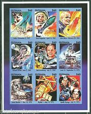 GUYANA IMPERFORATED SPACE  LAIKA GARGARIN ARMSTRONG SHEET SC#2873  MINT NH RARE