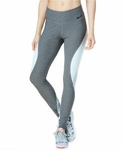 NEW! NIKE Womens POWER LEGEND Tight Fit Training Tights-Grey/Blue [L] 904470-071