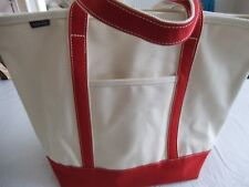 NEW LANDS END EX LARGE CANVAS NATURAL RED OVERNIGHT BAG/BEACH TOTE