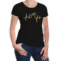Damen Kurzarm Girlie T-Shirt Musikfrequenz-Schlagzeug drums drummer Instrument
