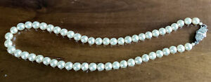 """Vintage Graduated Pearl Bead Necklace with Sterling Silver & Marcasite Clasp 13"""""""