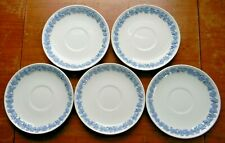 5 Wedgwood Embossed QUEENS WARE Lavender Cream SOUP SAUCERS Plain Edge England