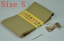 Beige Deluxe Genuine Leather Steering Wheel Cover Wrap Size S 35-36cm