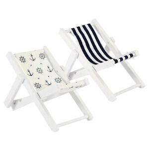 Mini Liegestuhl Stuhl Strand Klappstuhl Holz Maritime Deko Accessoires - Wählbar