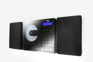 Musikanlage Vertikal Anlage mit CD Spieler USB MP3 Wandmontage FM Radio Schwarz