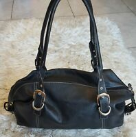 TIGNANELLO Black Medium Large Leather Shoulder Hobo Tote Satchel Purse Bag