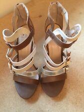 New Tan White High Heel Dress Sandals size 7.5