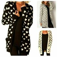 NEW LADIES WOMENS HEART PRINT KNITTED OPEN CARDIGAN WINTER JUMPER PLUS SIZE 8-22