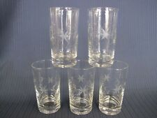 """FIVE 4¾"""" CRYSTAL FLOWERS LEAVES ETCHED HIGHBALL COCKTAIL TUMBLERS"""