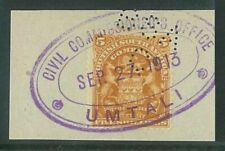"RHODESIA - 1898 Arms 5/- fiscally used ""UMTALI"" cancel (ME832)*"