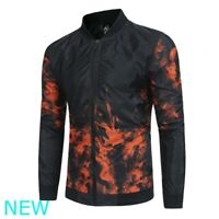 Black Tops Coat Jacket Baseball Outwear Zipper Casual Mens Long Sleeve Slim Fit