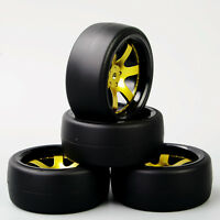 4X 1:10 Tires &Wheel RC Flat Drift Tyres 12mm Hex For HPI HSP On-Road Racing Car