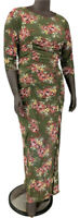 New, 70.00 Value! NY COLLECTION 1X green floral dress lined mesh ruched bodycon