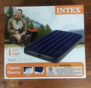 Twin Size Inflatable Air Bed Mattress Intex Classic Downy Blue Pump Not Included