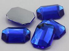10X8mm Blue Sapphire A09 Flat Back Octagon Acrylic Gemstones - 70 PCS