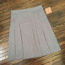 Isaac Mizrahi Grey/Gray Pleated Lined Skirt Size 6 NWT Work pinstripe US SELLER