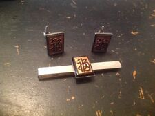 Vintage Carved Black  Onyx With Chinese Character Sterling Cufflinks Set
