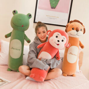 Sleeping Pillow Large Comfortable Lion Monkey Rabbit Frog Cylindrical Plush Toys