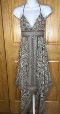 BCBG Size 0 Halter 100% Silk Handkerchief Dress Floral Sequined Black Brown NWOT