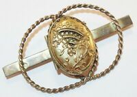 Antique Victorian Double Locket Raised Designs Twisted Circles Bar Pin Brooch