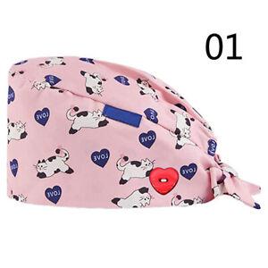 Women Unisex Fashion Print Nurse Cap Button Bouffant Cap Operation Room Hats new
