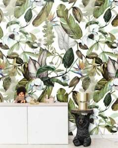 Tropical Leaves And Flowers Wallmural Wallpaper - Made in EU