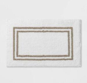 "Threshold Signature Border White Birch Stripe Bath Mat Rug  21"" x 34"" Microfiber"