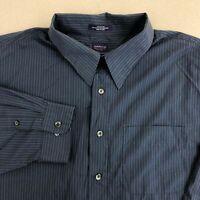 Arrow Dress Shirt Mens 18 Blue Long Sleeve Wrinkle Free Striped Business Career
