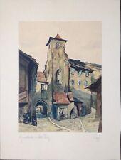 ::AGNESKLOSTER ALT-PRAG TSCHECHIEN AQUARELL ANTIK UM 1930 MONOGRAMM SELTEN