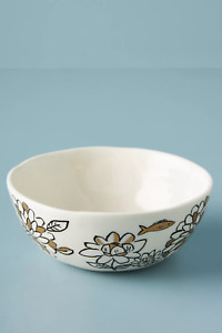 NWT ANTHROPOLOGIE RHEA FLORAL COPPER FISH CEREAL SIDE BOWL BLACK WHITE MOTIF