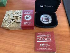 Lunar Drache 2012 Dragon 1 Unze oz Silber Farbe colored World Money Fair  WMF