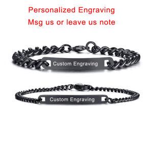 Black Women Men Couple Braclet Name DIY Free Engraving Charm Chain Bangle Gift
