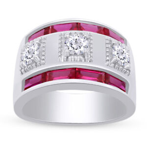 Ruby & Simulated Diamond Three-Stone Men's Band Ring 14k Gold Over Silver