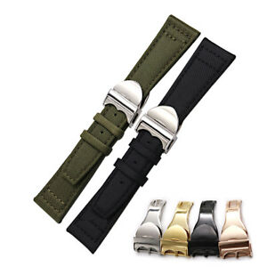 20 21 22mm Nylon Leather Black Green Replacement Wrist Watch Band For TUDOR