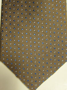 NWT Nordstrom Light Brown With Blue and White Dots Silk Tie