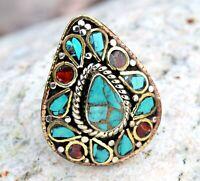 Turquoise Coral Ring Nepali Tibetan Ethnic Bohemian Teardrop Boho Nepal Jewelry