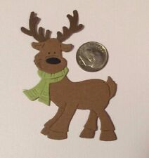 2 Reindeer with Scarf Premade PAPER Die Cuts / Scrapbook & Card Making