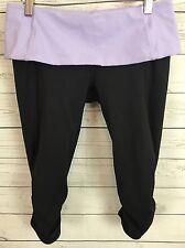 Lululemon Run Nothing to Hide Crop Black Lavender Purple Fold Over Waist Size 6?