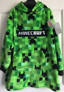 BNWT Official Minecraft Boys Girls Kids Fleece Hooded Snuddie Oodie Loungewear