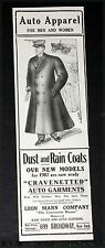1907 OLD MAGAZINE PRINT AD, LEON MANN AUTO APPAREL FOR MEN & WOMEN, FASHION ART!