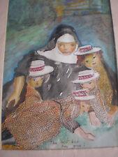 vintage water colour nun and four children (the last bus has gone)