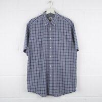 Vintage LACOSTE Blue Check Short Sleeved Cotton Shirt Size Mens XL
